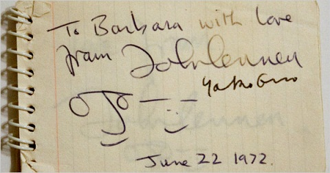 John Lennon Autograph 22nd June 1972